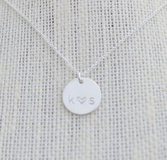 Silver 1/2 inch Love Necklace// Personalized by madebymarydesign, $32.00