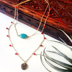 The dainty Kamal necklace with turquoise and red agate stones on gold dipped chains. Red Agate, Gold Dipped, Agate Stone, Chains, Stones, Turquoise, Instagram, Accessories, Jewelry
