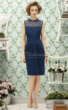 Ink Blue Chiffon Sheath/Column Jewel Knee-length Bridesmaid Dresses(BD749)