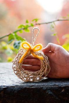 Finger Knitting wreath ornament