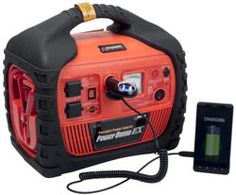 Cool Tool! Wagan Power Dome EX 400-Watt Jump Starter with Built-In Air Compressor  600 cranking amp auto jump starter 260 PSI high power motor air compressor; Has 2 AC Outlets and 1 DC outlets 400 watt AC power inverter, high intensity LED light Built-in AM/FM radio with iPod™ input