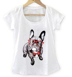 T-shirt Feminina Dog com óculos e gravata, Tecido Flamê - Cam Shirts