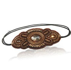 Womens Fashion Headband Gold and Brown Gatsby Beaded Headband Adjustable Fits Any Head Comes with Look Sheet Inspired By Great Gatsby 20s Style by LAC Beauty -- Visit the image link more details.(This is an Amazon affiliate link and I receive a commission for the sales)