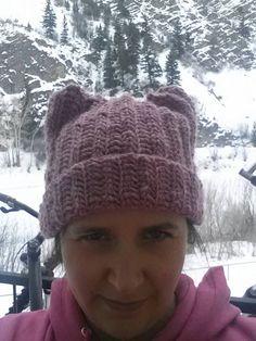 Cat hat pussy hat beanie women's march hat wool by SlickeryKnits