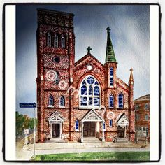 of a historic church-Consider one for your Valentine of were you exchanged vows, as an anniversary or wedding gift. (The traditional wedding anniversary gift is paper. 1st Wedding Anniversary Gift, Schematic Design, Architectural Services, Vows, Are You The One, Wedding Gifts, Watercolor, Traditional, Architecture