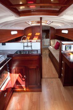 Fairlie 55 Interior from Classic Boat Magazine article. Photos by Emily Harris. - Sailboat about you searching for. Sailboat Living, Living On A Boat, Yacht Design, Boat Design, Classic Wooden Boats, Classic Boat, Classic Yachts, Liveaboard Sailboat, Sailboat Interior