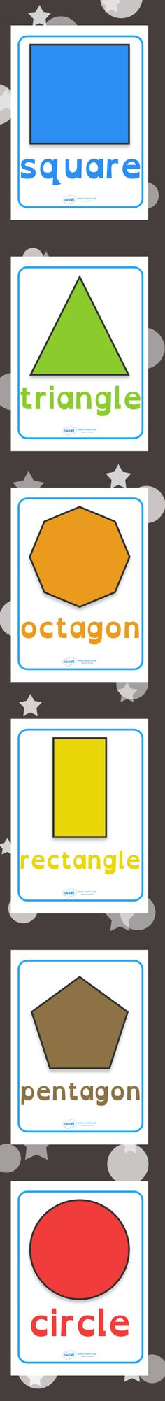 "2D Shape Posters  free printables. ....Follow for Free ""too-neat-not-to-keep"" teaching tools & other fun stuff :)"