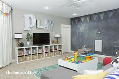 The montgomery house playroom - basement daycare ideas, boys playroom ideas Kids Playroom Storage, Playroom Organization, Playroom Design, Playroom Decor, Children Playroom, Playroom Paint Colors, Playroom Stage, Boys Playroom Ideas, Organization Ideas