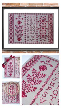 Folk art cross stitch pattern. Сountry style cross stitch. Sampler cross stitch in red. Rouge point de croix