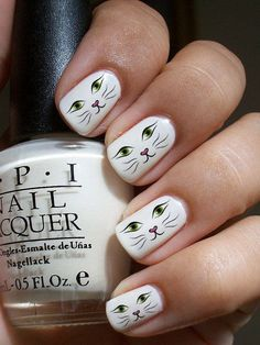 46 Purrfect Cat Nail Art Designs at CherryCherryBeaut… Nails Cat Nail Art, Animal Nail Art, Cat Nails, Manicure Nail Designs, Cute Nail Designs, Nails Design, White Nail Art, White Nails, White Polish