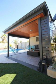 The wooden pergola is a good solution to add beauty to your garden. If you are not ready to spend thousands of dollars for building a cozy pergola then you may devise new strategies of trying out something different so that you can re Pool Gazebo, Pergola Patio, Backyard Patio, Pergola Kits, Cheap Pergola, Gazebo Ideas, Swimming Pools Backyard, Pool Landscaping, Pool Paving