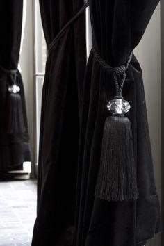 black velvet curtains with crystal tiebacks - Bieke Vanhoutte Bathroom mirror?