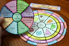 Volume and Surface Area Wheel Foldable Sorting Activities, Math Games, Solid Geometry, Math Made Easy, Teaching Geometry, Triangular Prism, Math Questions, Science Topics, Third Grade Math