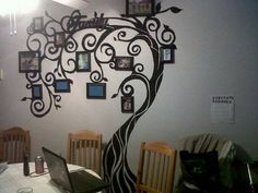 painted tree photo wall