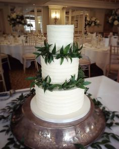 Rustic buttercream wedding cake with green foliage, very much on trend. Buttercream Wedding Cake, Beautiful Wedding Cakes, Wedding Cake Designs, Yummy Cakes, How To Make Cake, Special Day, Rustic, Green, Crafts