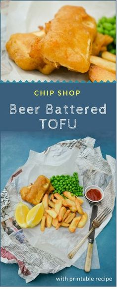 Chip Shop Battered Tofu is that wonderful thing you will come across if you are really, really lucky. If not make your own. It's easy to make and so good to eat. Bite through crunchy spiced batter to creamy tofu. #chipshop #tofu #vegan #beerbatter #beerbattered #batter #chipshoprecipes #veganrecipes