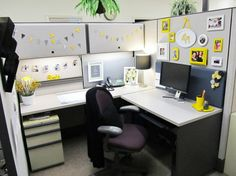 cubicle - this is doable in my space. keep the same color theme throughout.