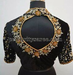High Neck Work Blouse in Black - Saree Blouse Patterns Choli Designs, Pattu Saree Blouse Designs, Saree Blouse Patterns, Designer Blouse Patterns, Zardosi Work Blouse, Sari Blouse, Dress Patterns, Blouse Designs High Neck, Fancy Blouse Designs