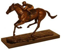 Bronze Horse Sculpture / Equines sculpture by artist Harriet Glen titled: 'Frankel (Galloping Stallion Racehorse and Jockey Racing statuette)'