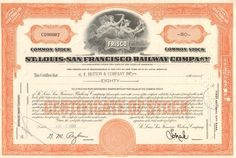 Popular railroad stock certificate from St Louis - San Francisco Railway Company (Frisco) dated Cool piece with the company logo in the vignette. Money Frame, High School Mascots, Fort Scott, Crawford County, Common Stock, Southern Railways, Burlington Northern, Tulsa Oklahoma