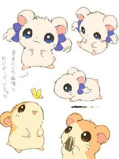 "valentine-vii: "" By ベルちぁん "" Hamtaro and Bijou my two favorite little hamsters. Pet Anime, Anime Animals, Anime Kawaii, Kawaii Cute, Manga Anime, Anime Art, Cute Animals, Cute Animal Drawings, Kawaii Drawings"