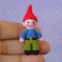 Crochet a Miniature Garden Gnome Crochet Fairy, Cute Crochet, Crochet Crafts, Crochet Dolls, Yarn Crafts, Knit Crochet, Knitting Projects, Crochet Projects, Wiccan