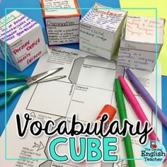 This vocabulary cube activity is a great way to introduce new words, ideas, and even a new unit of study to students. Students will thoroughly analyze a specified word six different ways. Vocabulary Foldable, Teaching Vocabulary, Vocabulary Activities, Vocabulary Words, Academic Vocabulary, Middle School Reading, Middle School English, 4th Grade Reading, High School Classroom