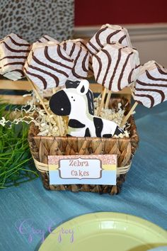 Zebra cakes party favor...such a cute & easy idea for a zoo party! Amanda such a cute idea to go with baby theme!