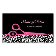 22 best business cards ideas pink and black images on pinterest trendy pink and black leopard hair salon scissors business card accmission Gallery