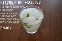 This recipe makes a mean pitcher of mojitos!  #mojito #bartender #recipe. So maybe not diet... But still good...