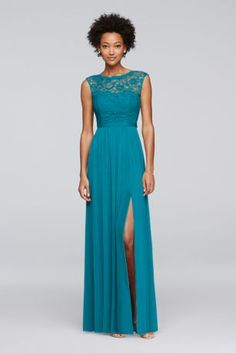 Looking for a little lace for your bridesmaids? This long bridesmaid dress features a lace bodice, an illusion neckline, a ribbon-defined waist, and a fluid mesh skirt with a slit.  Polyester, rayon, nylon  Back zipper; fully lined  Dry clean  Imported  Also available in Regular