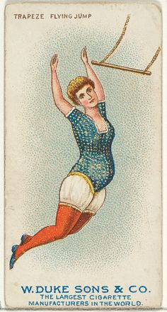 Trapeze, Flying Jump, from the Gymnastic Exercises series (N77) for Duke brand cigarettes 1887