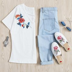 Do you know what to wear this weekend? Shop link in bio. (SKU: tee170511708 US$13.99 ) #romwe #crisscross #embroidery #tee #lovefashion #daily #instacool