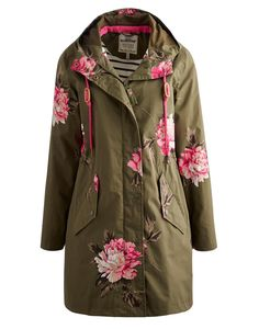 Joules Women's Waterproof Parka, Grape Peony.                     Part of our Right as Rain collection our longer length parka-style rain coat is PU coated and has taped seams to make it 100% waterproof.  A drawstring hood and button cuffs keep the draughts out while an inner drawstring designed to pull in the waist gives the coat a flattering shape.