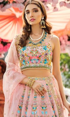 Embellished wedding wear in shades of pink for the beautiful bride. Bridal Outfits, Bridal Dresses, Indian Fashion, Womens Fashion, Saree Fashion, Bridal Lehenga, Lehenga Saree, Baby Pink Colour, Baby Design