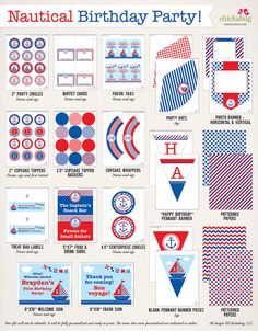 Nautical birthday party printables collection - 35 pages of ship-shape designs for your party decor
