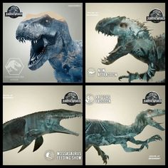 Jurassic World- Four of the Main Attractions of Jurassic World: T-Rex Kingdom (Original T-Rex), New Attraction Indominus Rex (Opens In July), Mesosaurus Feeding Show , and the Raptor Paddock (Restricted Until Further Notice)