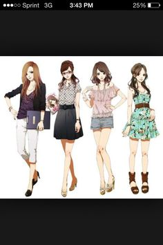 Inspiration: Modern Outfits for Girls / Women ----Manga Art Anime Drawing Outfits Clothes----