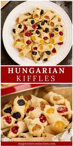 A holiday tradition in my home, these Kiffles are traditional Hungarian cookies made from cream cheese dough and filled with various flavors of pastry filling. They're delicate, rich and a beautiful addition to any holiday cookie platter. Easy Holiday Cookies, Easy Christmas Cookie Recipes, Xmas Cookies, Christmas Cooking, Yummy Cookies, Holiday Recipes, Italian Christmas Cookies, Shortbread Cookies, Hungarian Cookies