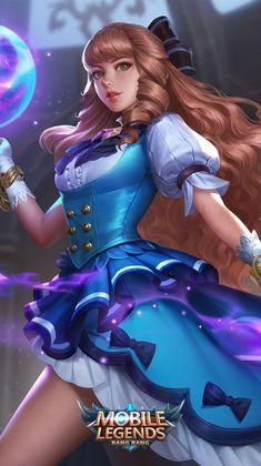 Mobile Legend Wallpaper, Hero Wallpaper, Wallpaper Quotes, Wallpaper Backgrounds, Fantasy Characters, Female Characters, Miya Mobile Legends, Alucard Mobile Legends, Moba Legends