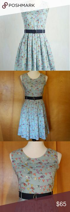 """Put Pennant to Paper Dress Adorable ModCloth dress with pennant and floral design. Fully lined, back zipper, and pockets! Comes with belt. 35"""" length and 100% cotton. UK size 8, US size XS.  Offers accepted, but no lowballing. ModCloth Dresses"""