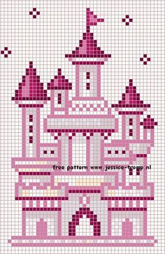 free cross-stitch castles... no color chart available, just use pattern chart as your color guide.. or choose your own colors..