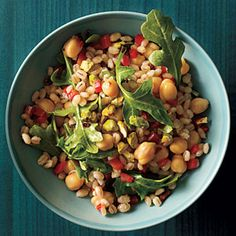 Salad - Mediterranean Barley with Chickpeas and Arugula | MyRecipes.com - Cook barley according to package directions, omitting salt. Combine barley, arugula, bell pepper, tomatoes, and chickpeas in a large bowl. 2. Combine lemon juice, oil, salt, and crushed red pepper, stirring with a whisk. Drizzle over barley mixture, and toss. Sprinkle with pistachios.