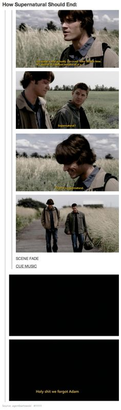 YES!! Kripke you owe us after all the senseless pain you put us through, so listen to this suggestion!!