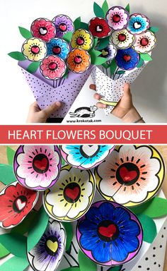 HEART FLOWERS BOUQUET Valentine Crafts For Kids, Valentines Day Activities, Mothers Day Crafts, Craft Activities For Kids, Kids Crafts, Holiday Crafts, Easy Crafts, Projects For Kids, Arts And Crafts