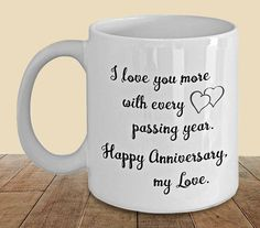 Anniversary Mug, Anniversary Coffee Mug, Anniversary Gift for Husband, Gift for Wife, I Love You Gift, Romantic Mug, Romantic Gift by PortunaghDesign on Etsy