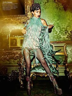 Gigi Hadid takes this flapper chic inspired look to a new level in an Atelier Versace shimmer fringe halter dress on the Vogue France November '16 issue.   Styled by: Emmanuelle Alt Photographer: Mario Testino #VersaceEditorials