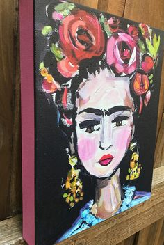 Frida Kahlo Print on Canvas, pink sides, high profile canvas by DevinePaintings on Etsy