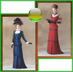 Butterick 4212 Late Victorian 1900s Dress/Gown Patterns