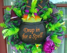 Happy Halloween Drop in for A Spell Lime Green And Black Deco Mesh Wreath
